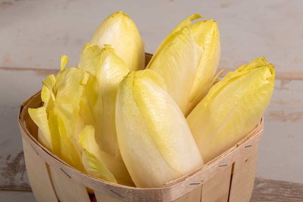 Delicious chicory endives from france or belgium in small wooden basket