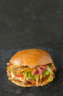 Вкусный гамбургер с курицей и картофелем фри
