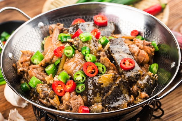 Delicious chinese cuisine, soft shelled turtle stewed with chicken pot