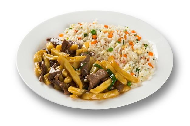 고기, 감자, 쌀로 만든 맛있는 중국 음식.