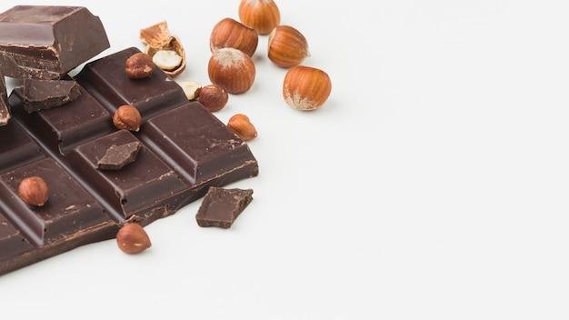 Delicious chocolate bar copy space