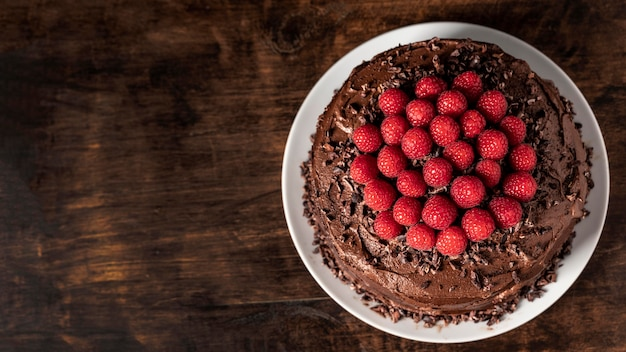 Delicious chocolate cake with copy space