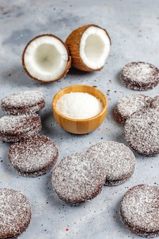 Delicious chocolate and coconut cookies with coconut,top view