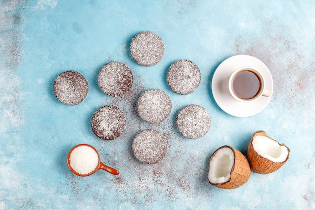 Delicious chocolate and coconut cookies with coconut