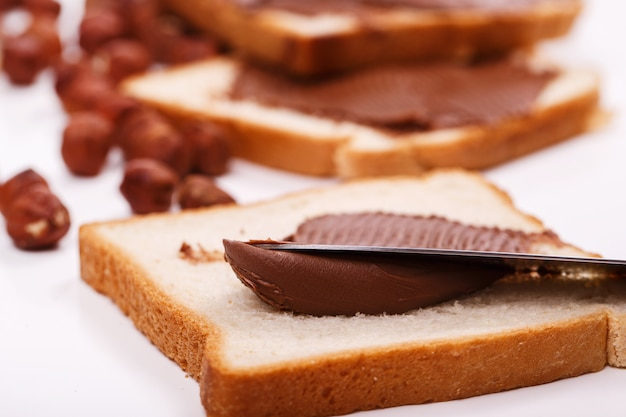 Delicious chocolate cream on a toast