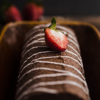 Delicious chocolate dessert with strawberry