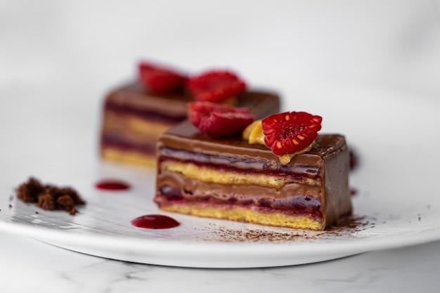Delicious chocolate and raspberry cake slice dessert