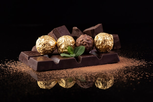 Delicious chocolate snacks close up