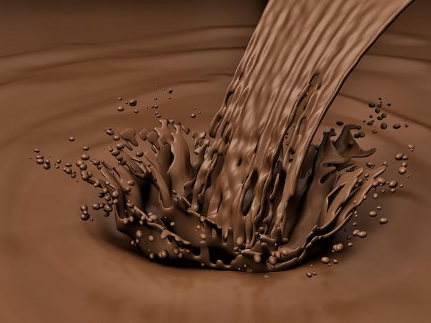 Вкусный шоколадный всплеск рендера