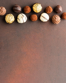 Delicious chocolate truffles copy space