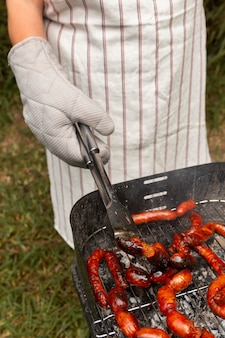 Delicious chorizo sausage on grill