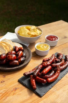 Delicious chorizo sausage grilled