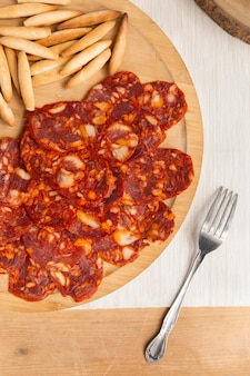 Delicious chorizo sliced on a plate assortment