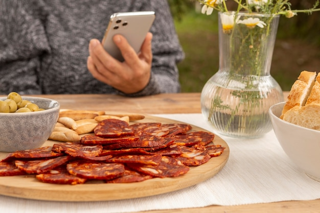 Delicious chorizo sliced on a plate composition