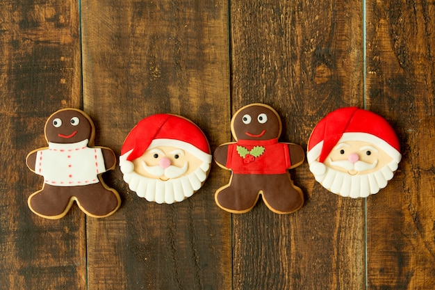 Delicious christmas cookies with santa claus face