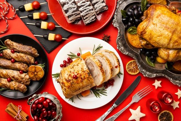 Delicious christmas food composition