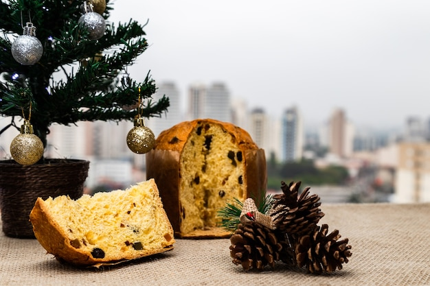 Delicious christmas panettone with christmas decoration