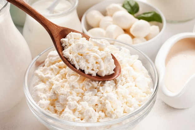 Delicious close-up dairy product with spoon