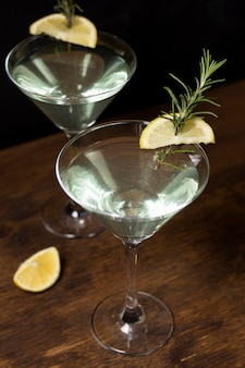 Delicious cocktail with rosemary and lemon
