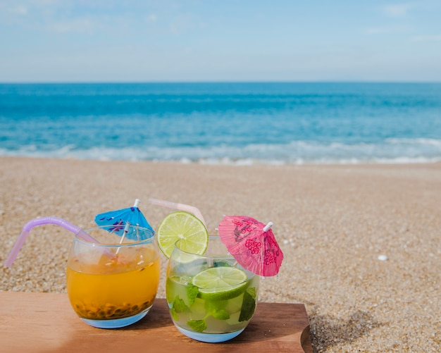 Delicious cocktails served on beach