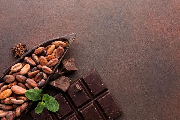 Delicious cocoa beans copy space