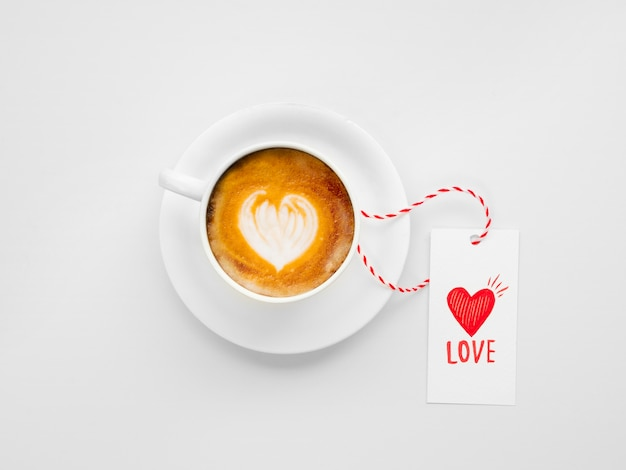 Delicious coffee with valentine tag