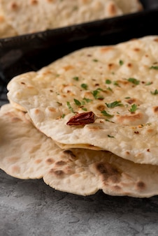 Delicious composition of traditional roti