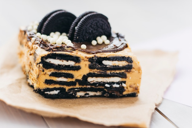 Delicious cookie pastry on paper