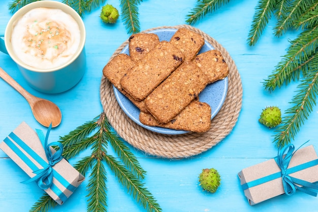 Delicious cookies for breakfast with fir needles and fragrant coffee.