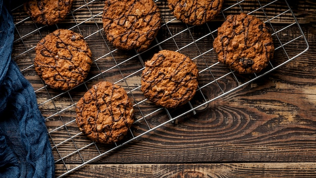 Delicious cookies flat lay