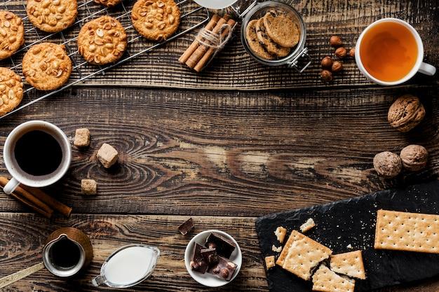 Плоская планировка вкусного печенья