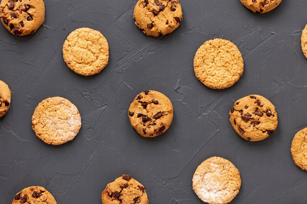 Delicious cookies on grey table