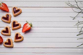 Delicious cookies in shape of heart