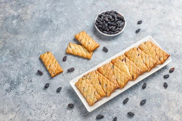 Deliziosi biscotti con uvetta, vista dall'alto