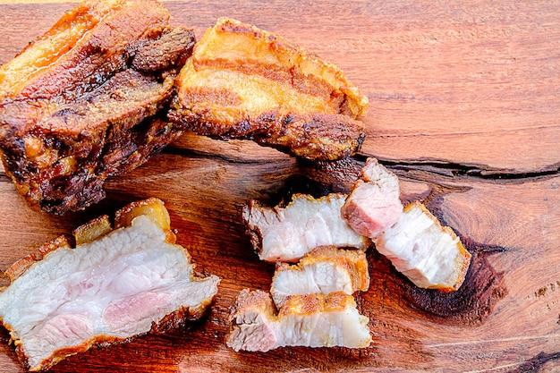 Delicious crispy pork served