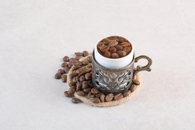 Delicious cup of aroma fresh cup of coffee beans