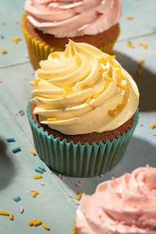Delicious cupcakes assortment with glaze
