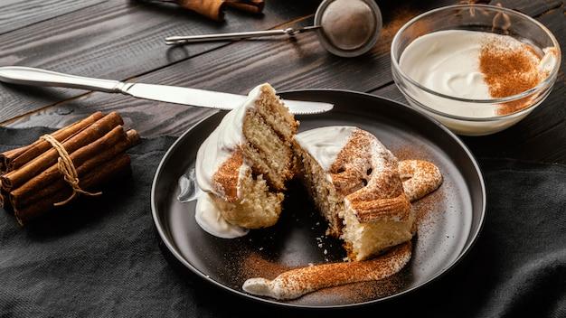 プレートハイアングルの美味しいデザート