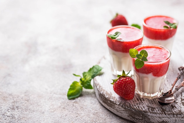 Delicious dessert panna cotta with strawberry