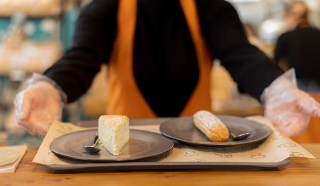 Delicious dessert on plates arrangement