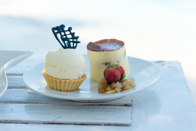 Delicious desserts at beach table