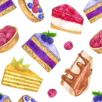 美味しいデザート。シームレスパターン。手描きの水彩イラスト。印刷、ファブリック、テキスタイル、壁紙のテクスチャ。