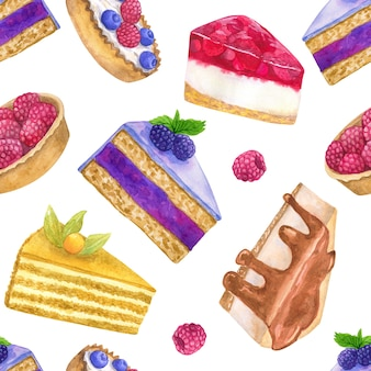 Delicious desserts. seamless pattern. hand drawn watercolor illustration. texture for print, fabric, textile, wallpaper.