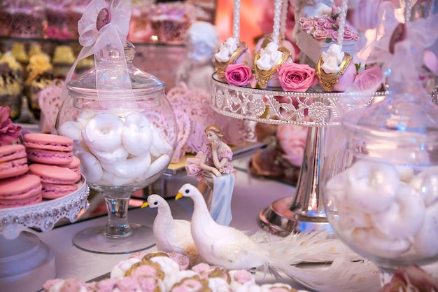 Delicious desserts at the wedding candy bar in the buffet area: statuette, figurine, cake pops, marshmallows, meringue