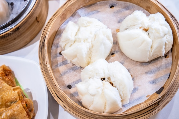 Delicious dim sum in bamboo steamer