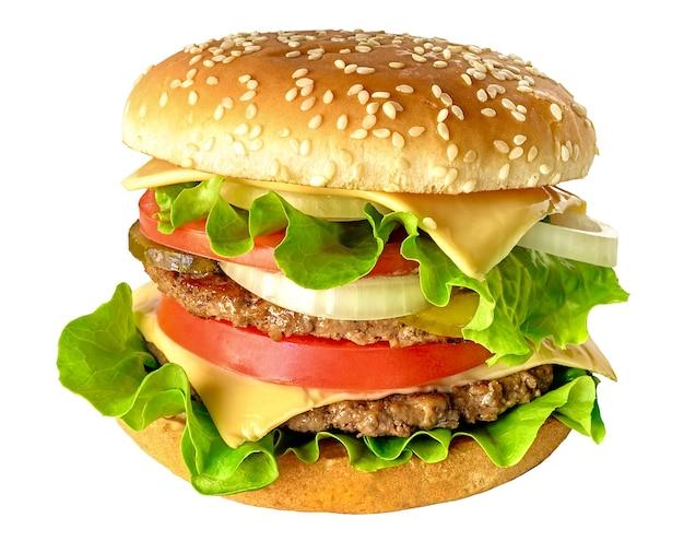 白い背景に分離されたおいしいダブルおいしいハンバーガー