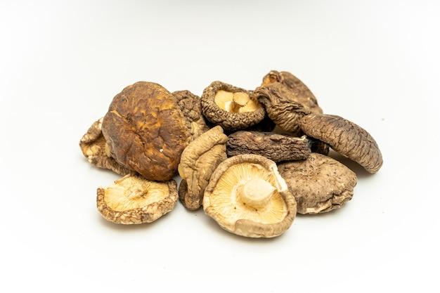 Вкусный сушеный гриб шиитаке на белом фоне