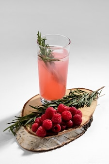 Delicious drink and raspberries for detox