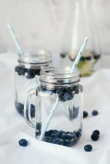 블루 베리와 함께 맛있는 음료