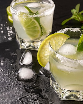 Delicious drink with lime high angle